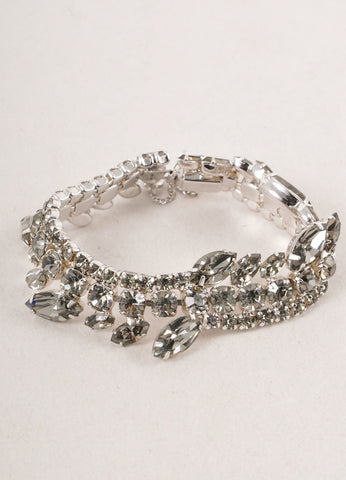 Grey and Silver Toned Crystal Rhinestone Embellished Evening Bracelet