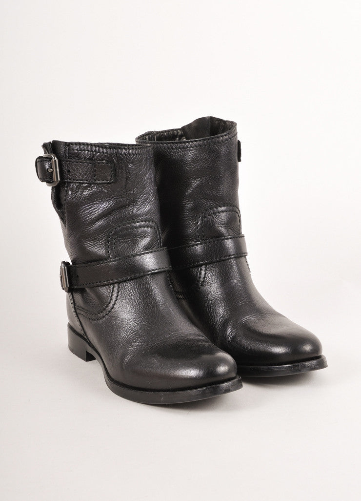 Black Cervo Shine Calvature Donna Leather Buckled Ankle Boots