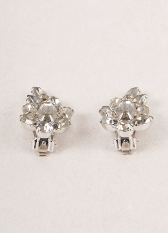 Grey and Silver Toned Crystal Rhinestone Embellished Evening Earrings