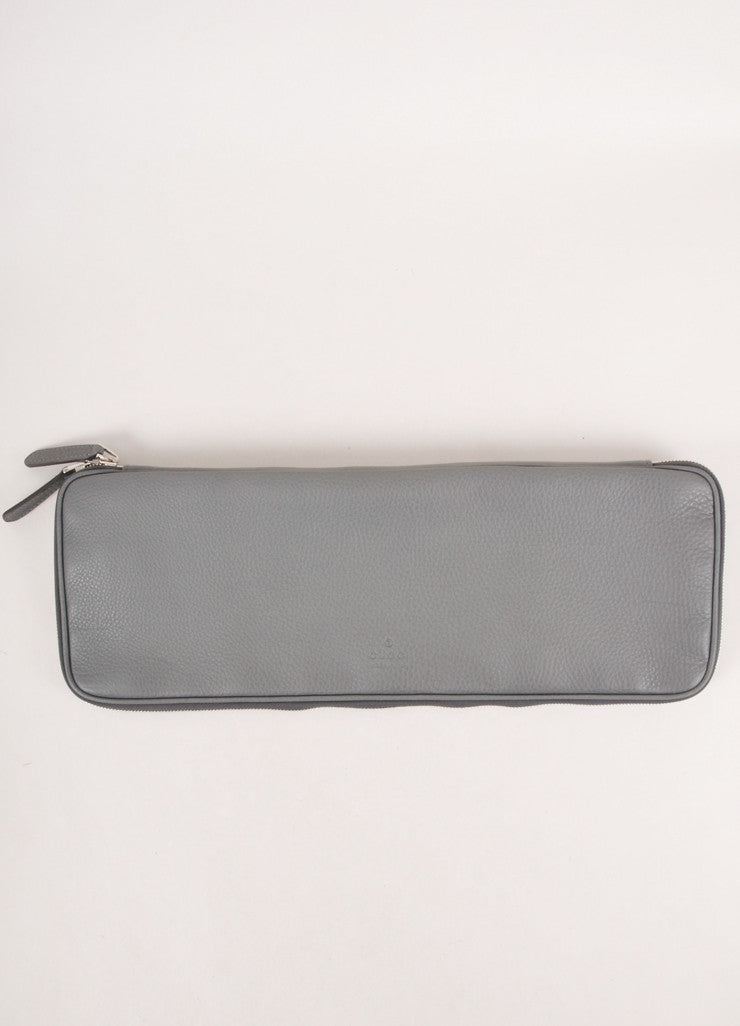 Grey Leather Long Zipper Oversized Clutch