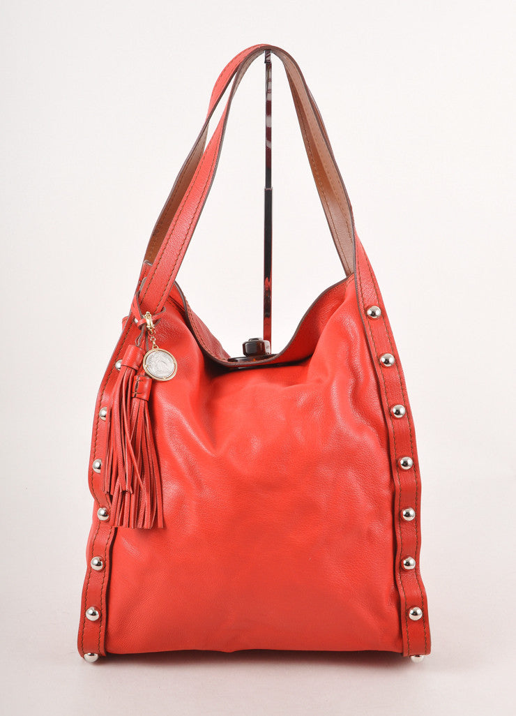 Red and Silver Studded Trim and Tortoiseshell Turnlock Large Leather Tote Bag