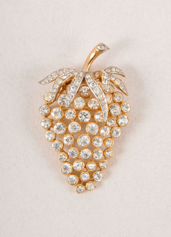 Gold Toned and Clear Rhinestone Embellished Grape Cluster Pin Brooch