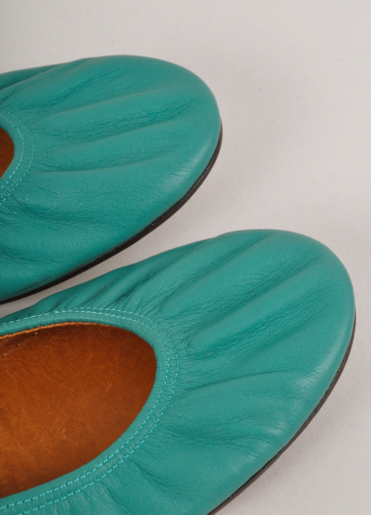 New In Box Teal Green Ruched Leather Ballet Flats