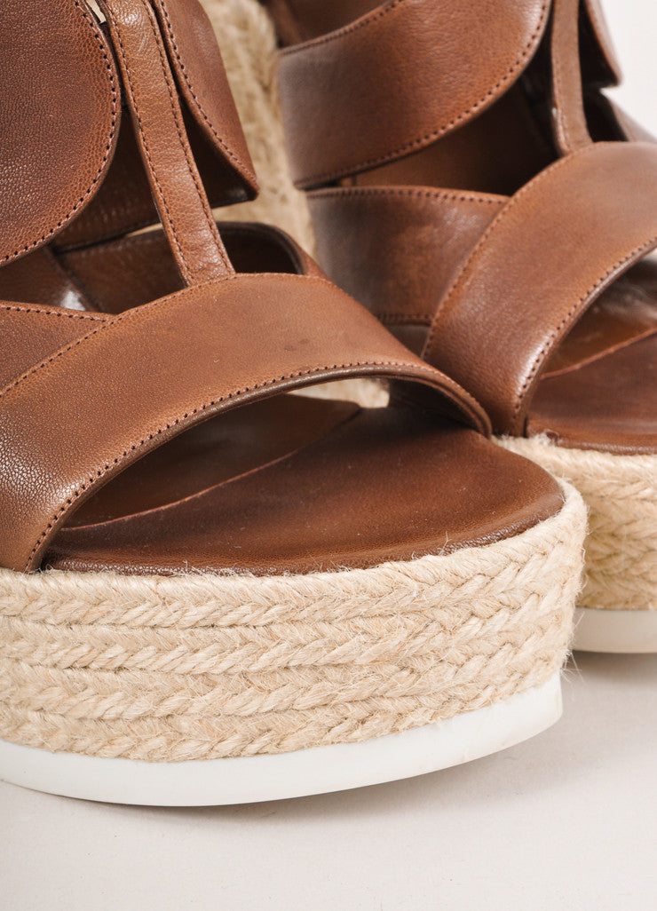 Brown Strappy Leather Platform Espadrille Wedges