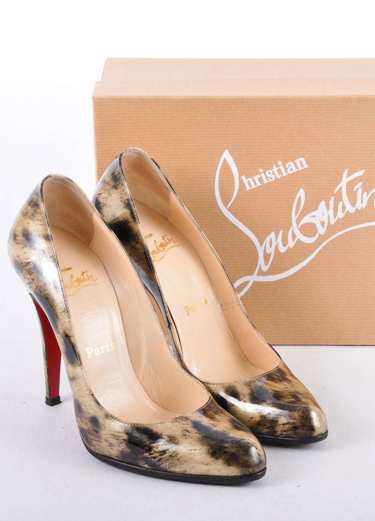 "Beige and Black Patent Leather Tiger ""Decollete"" Pump"