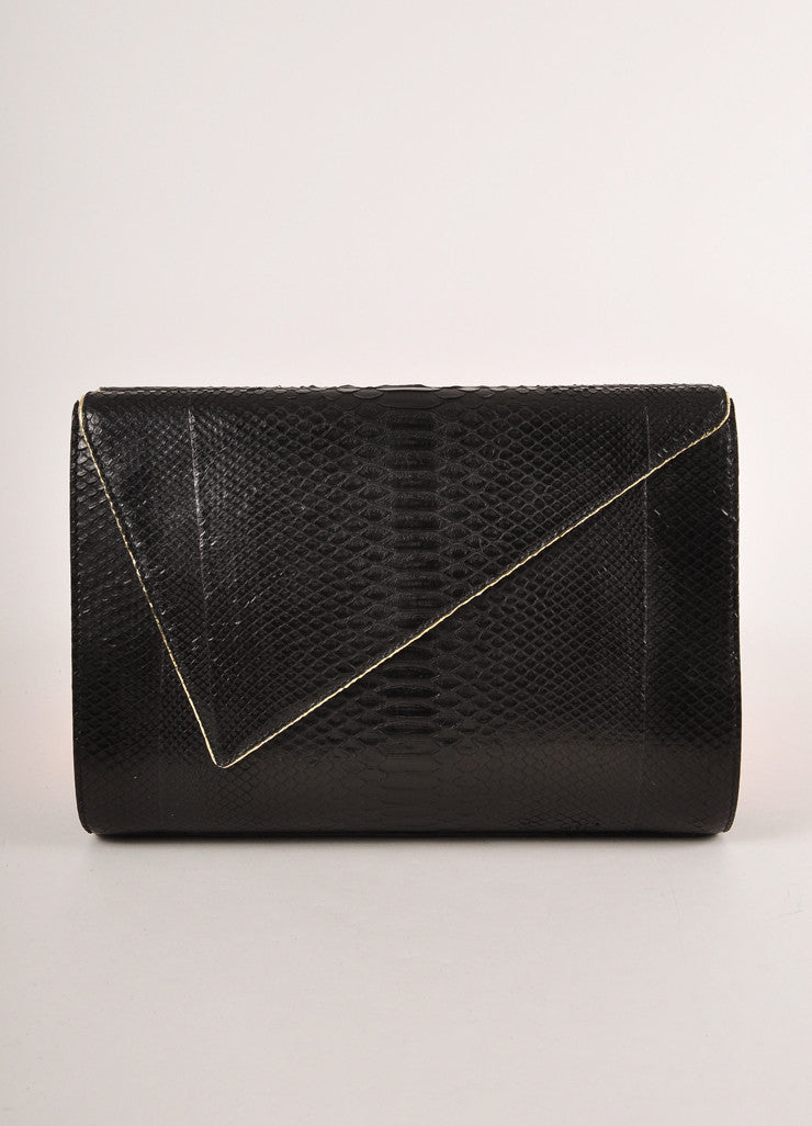 Kathryn Allen New Black and Gold Metallic Python Leather Large Clutch Bag Frontview