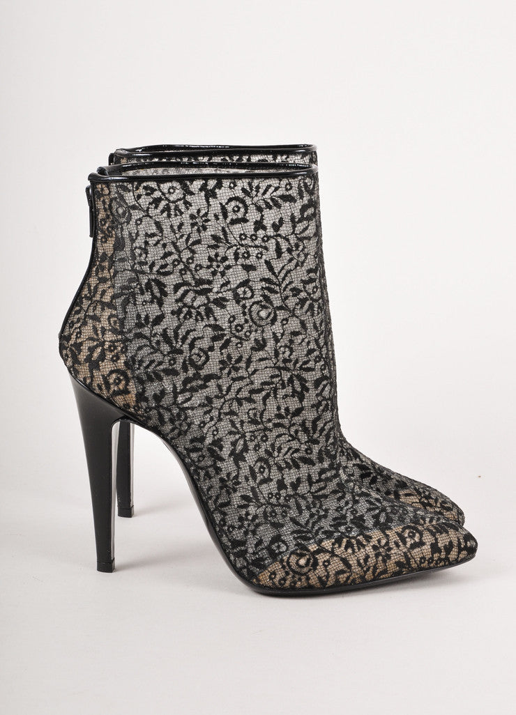 Black Sheer Floral Lace Heeled Boots