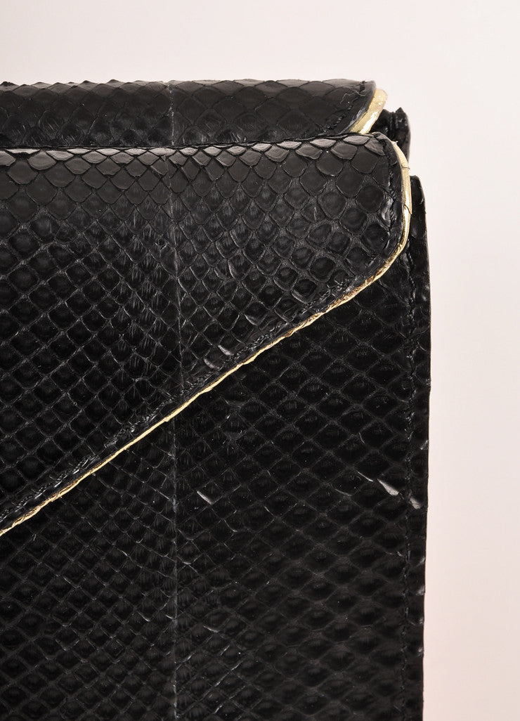 Kathryn Allen New Black and Gold Metallic Python Leather Large Clutch Bag Detail 2
