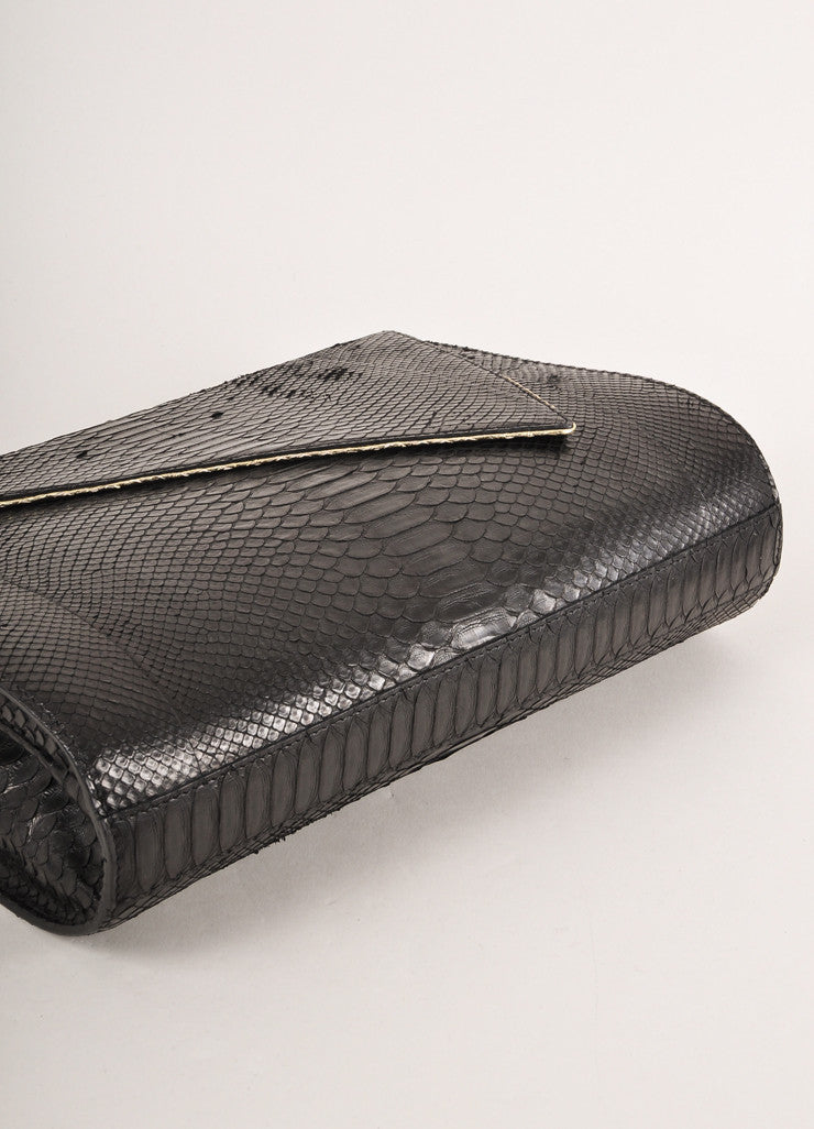 Kathryn Allen New Black and Gold Metallic Python Leather Large Clutch Bag Sideview