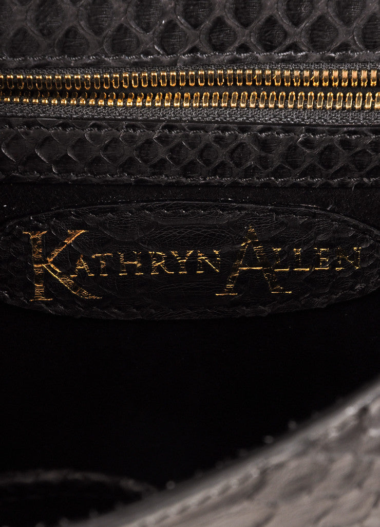 Kathryn Allen New Black and Gold Metallic Python Leather Large Clutch Bag Brand