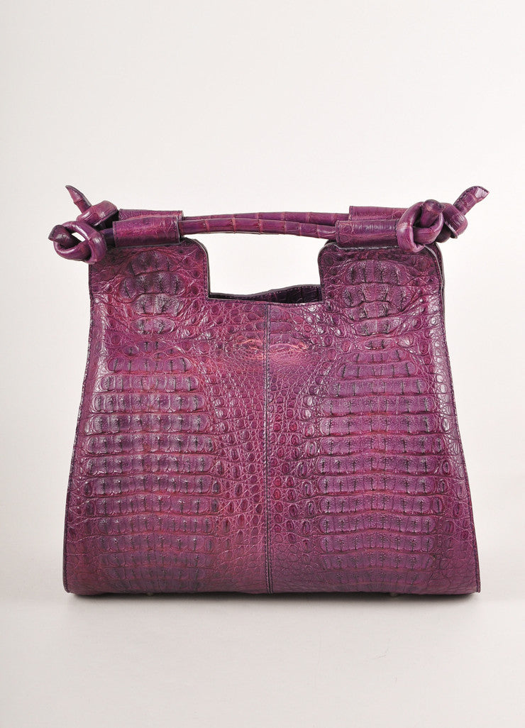 "Kathryn Allen New WIth Tags Purple Crocodile Leather Structured ""Hampton"" Tote Bag Frontview"