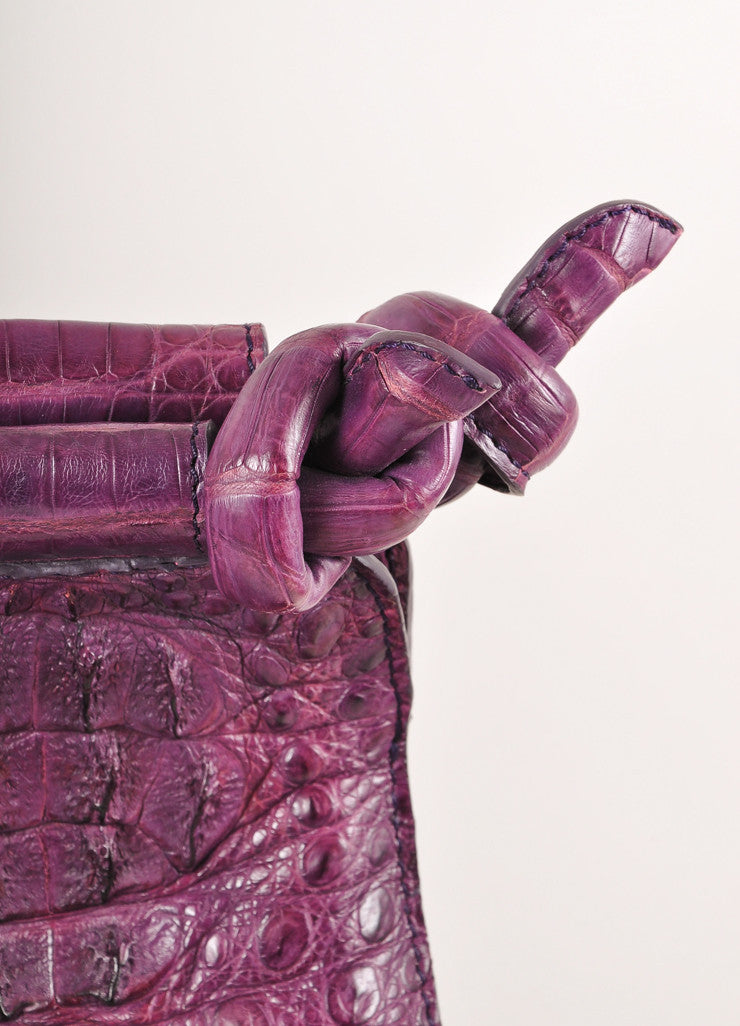 "Kathryn Allen New WIth Tags Purple Crocodile Leather Structured ""Hampton"" Tote Bag Detail 2"