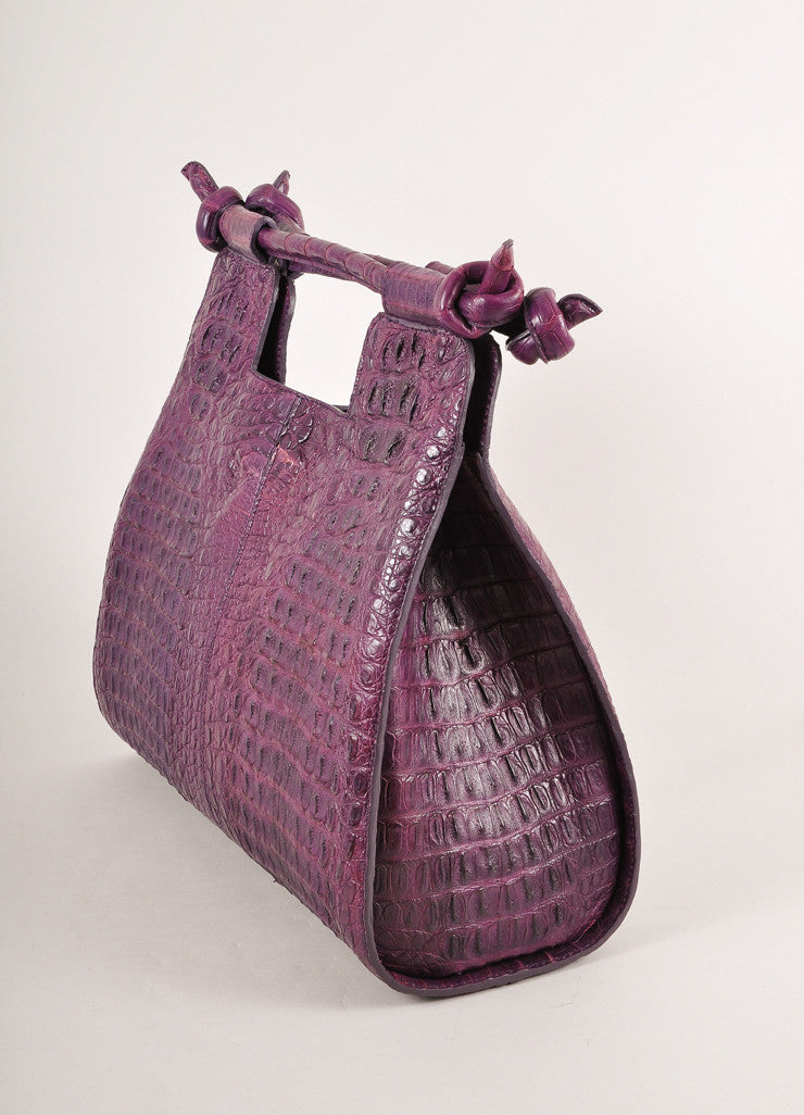 "Kathryn Allen New WIth Tags Purple Crocodile Leather Structured ""Hampton"" Tote Bag Sideview"
