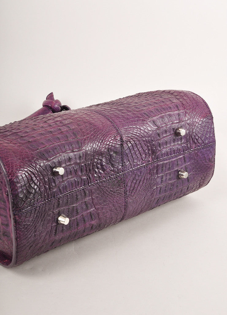 "Kathryn Allen New WIth Tags Purple Crocodile Leather Structured ""Hampton"" Tote Bag Bottom View"