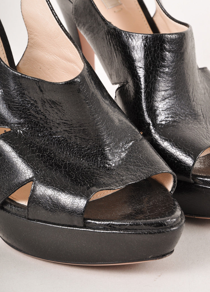 Black Prada Leather Open Toe Sandal Heels