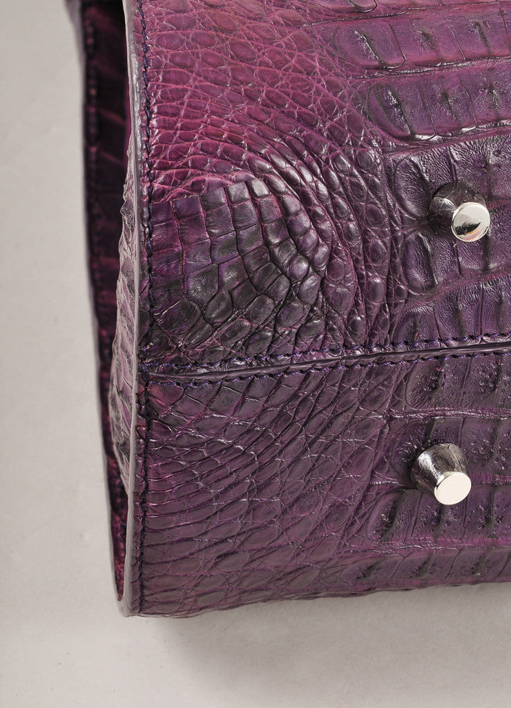 "Kathryn Allen New WIth Tags Purple Crocodile Leather Structured ""Hampton"" Tote Bag Detail"
