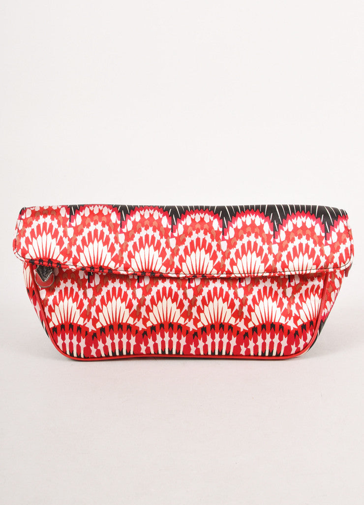 Red, White, and Black Printed Clutch
