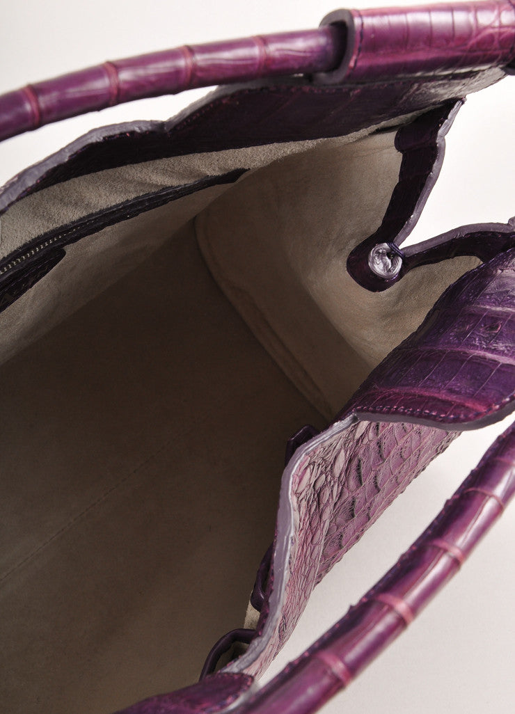 "Kathryn Allen New WIth Tags Purple Crocodile Leather Structured ""Hampton"" Tote Bag Interior"