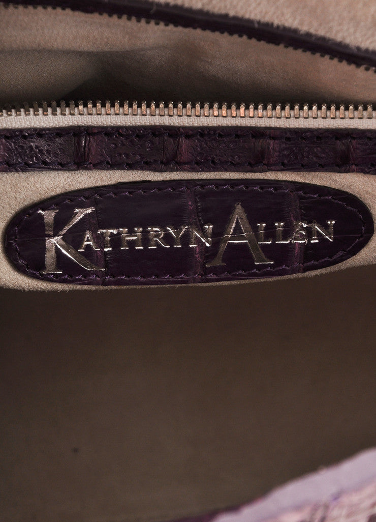 "Kathryn Allen New WIth Tags Purple Crocodile Leather Structured ""Hampton"" Tote Bag Brand"