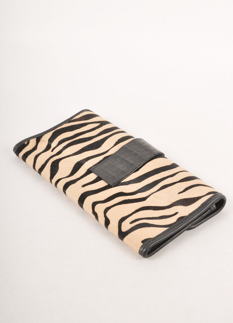 Beige and Black Zebra Stripe Ponyhair and Leather Long Clutch