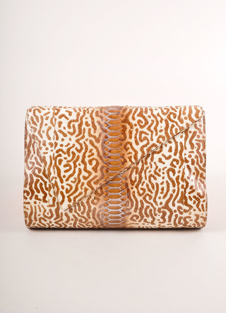 Kathryn Allen New Multi-Brown Animal Print Python Leather Large Clutch Bag Frontview