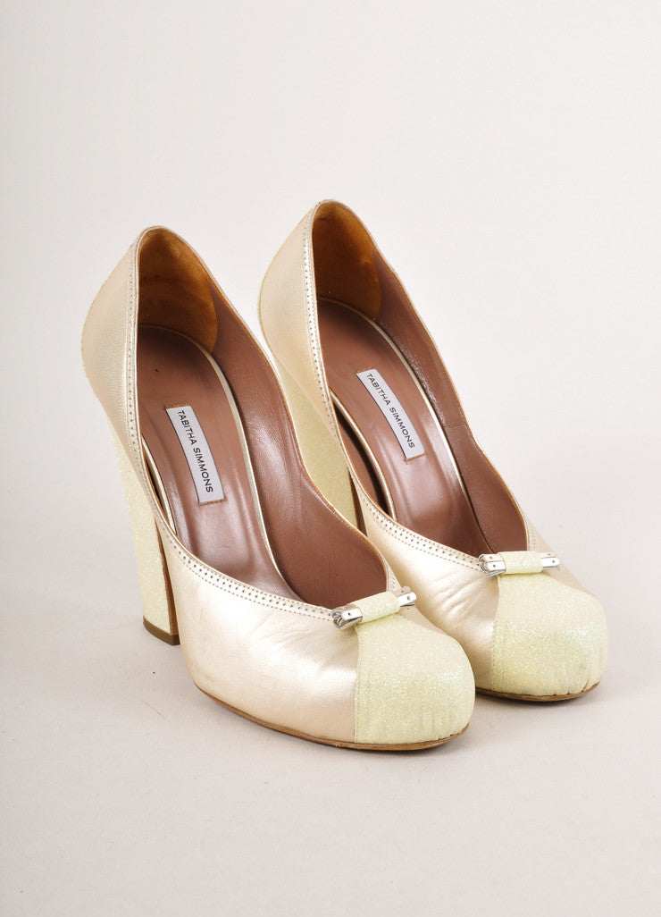 "Gold and Yellow Glitter Trim Satin ""Dixie"" Chunky Heel Pumps"