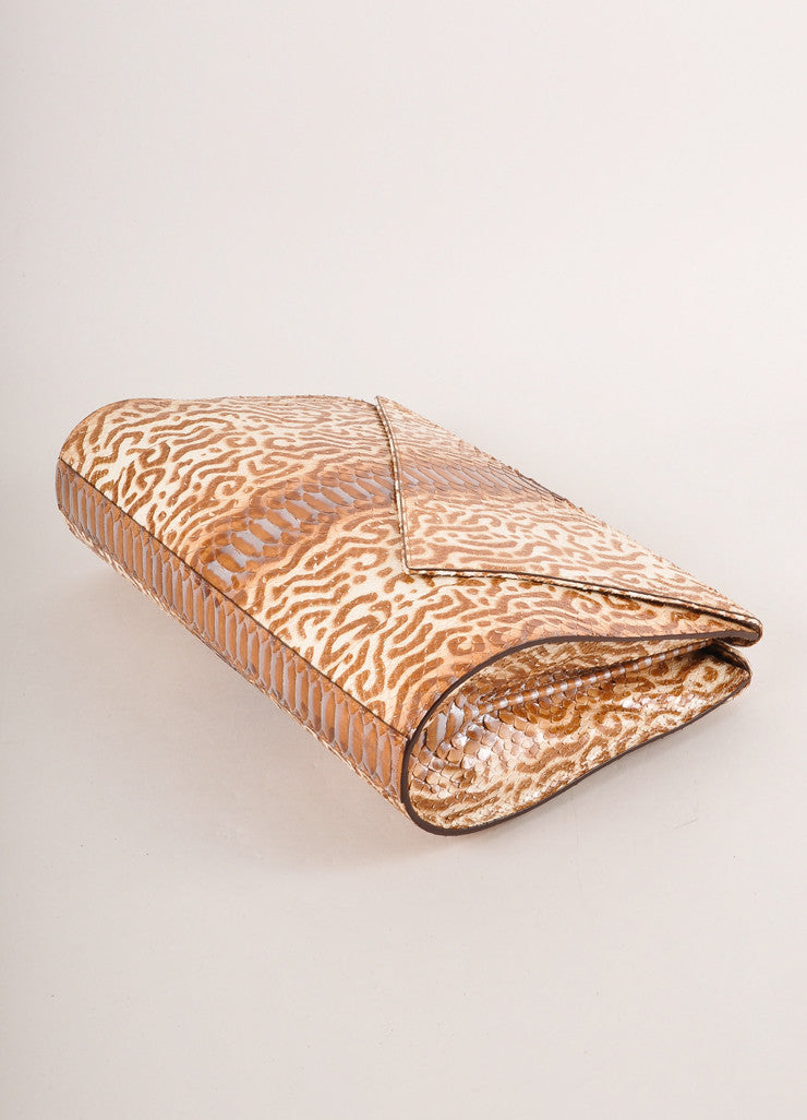 Kathryn Allen New Multi-Brown Animal Print Python Leather Large Clutch Bag Sideview