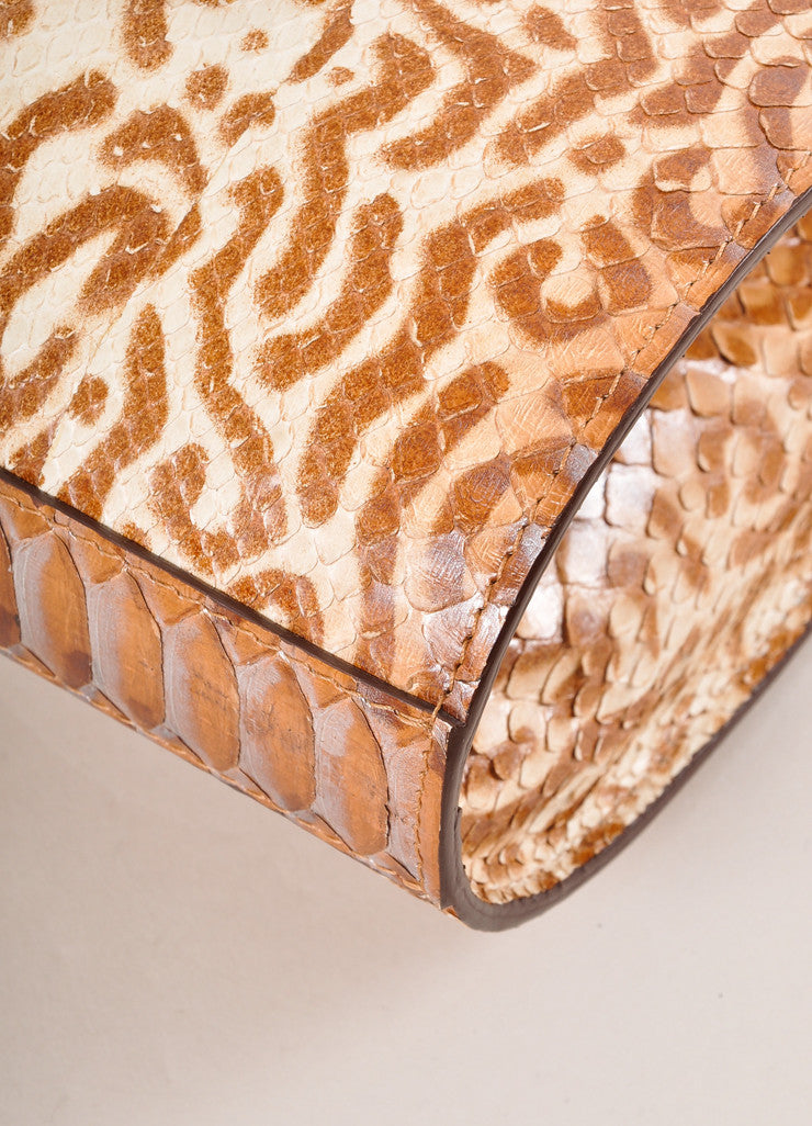 Kathryn Allen New Multi-Brown Animal Print Python Leather Large Clutch Bag Detail
