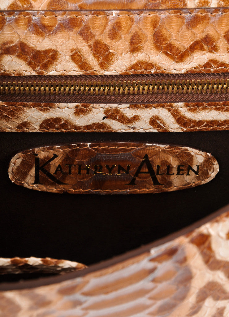 Kathryn Allen New Multi-Brown Animal Print Python Leather Large Clutch Bag Brand