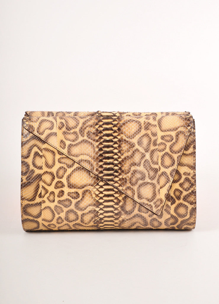 Kathryn Allen New Multi-Brown Giraffe Print Python Leather Large Clutch Bag Frontview
