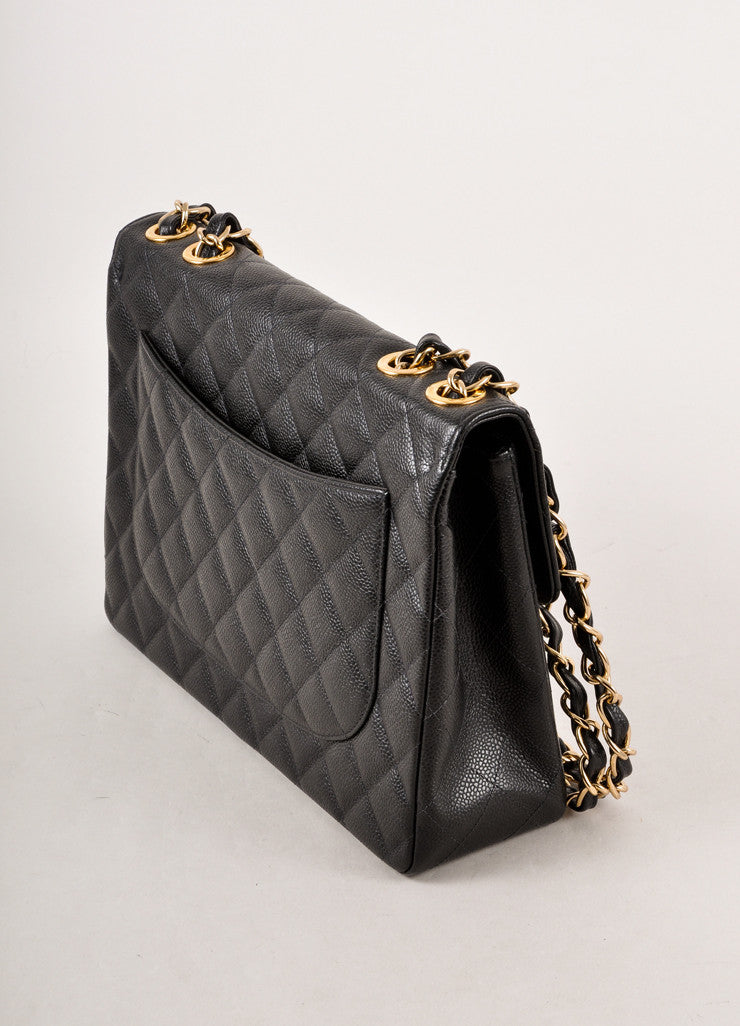 Black Quilted Caviar Leather Jumbo Classic 2.55 Flap Chain Strap Bag