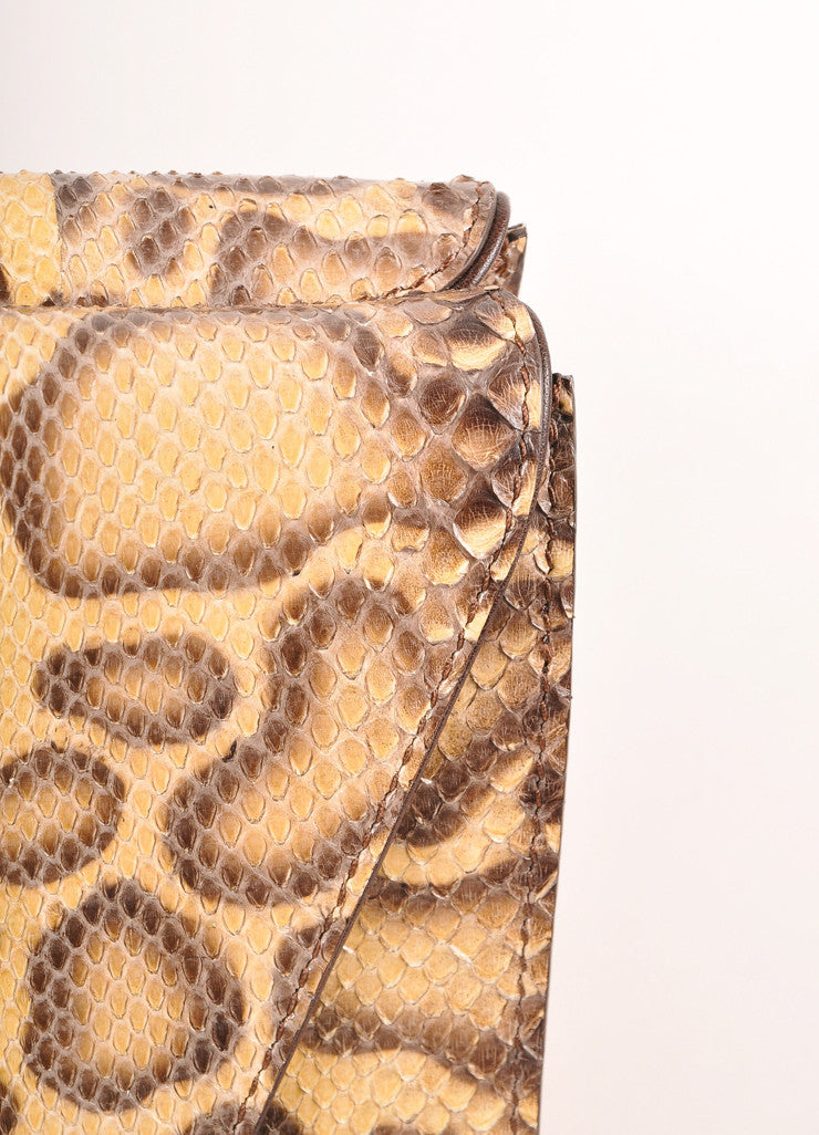 Kathryn Allen New Multi-Brown Giraffe Print Python Leather Large Clutch Bag Detail 2