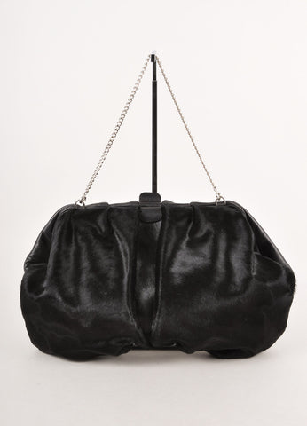 Black Gathered Ponyhair and Leather Convertible Clutch
