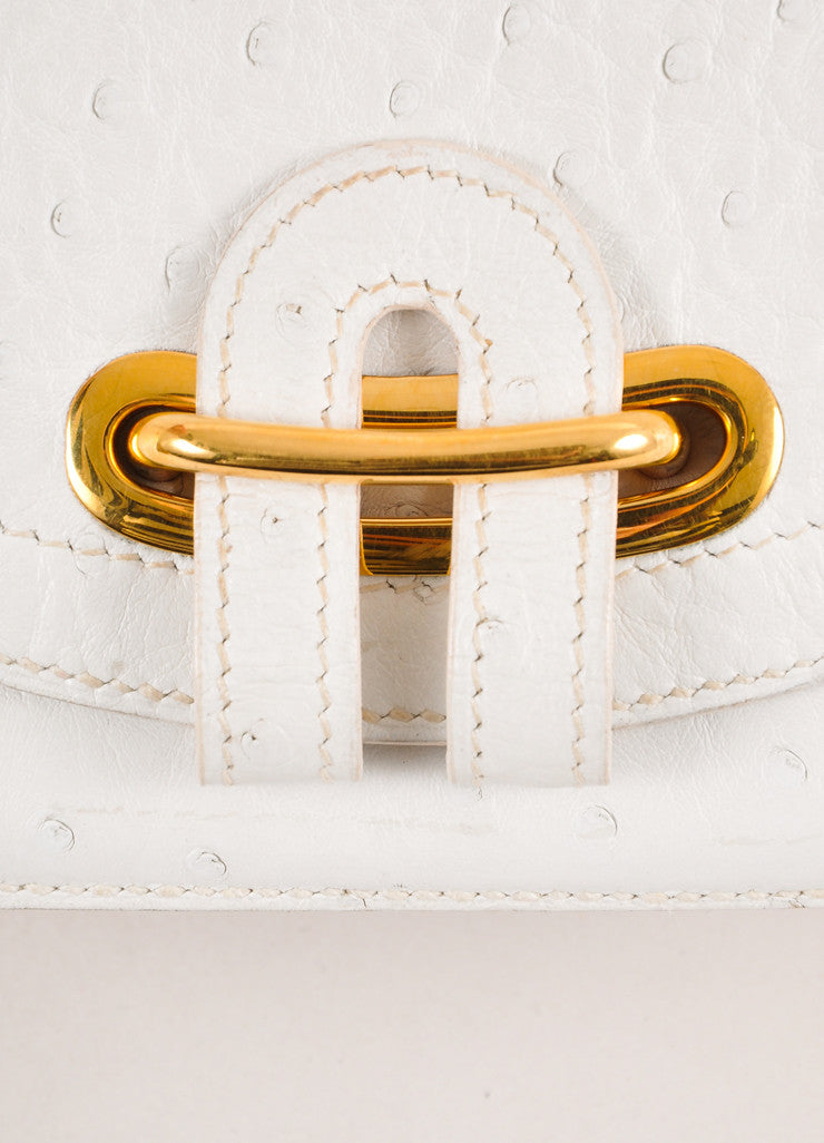 White and Gold Toned Hardware Detail Ostrich Leather Passe-Guide Handbag