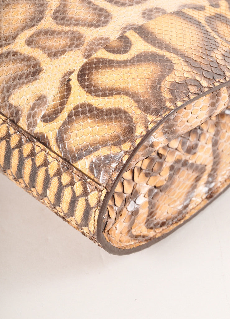 Kathryn Allen New Multi-Brown Giraffe Print Python Leather Large Clutch Bag Detail