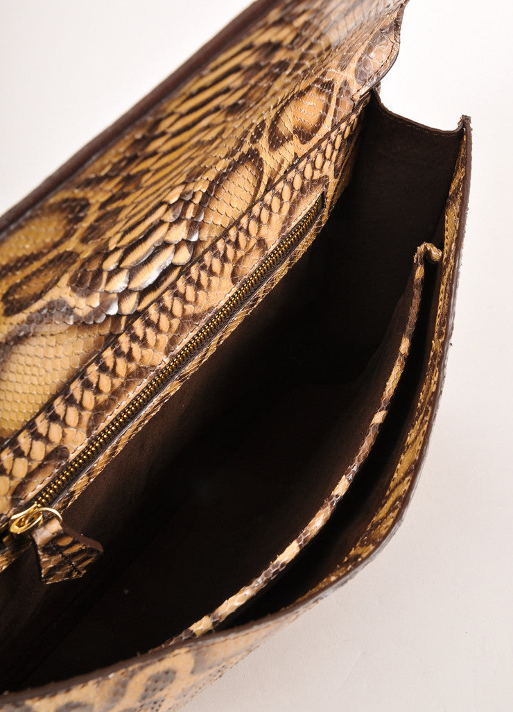 Kathryn Allen New Multi-Brown Giraffe Print Python Leather Large Clutch Bag Interior