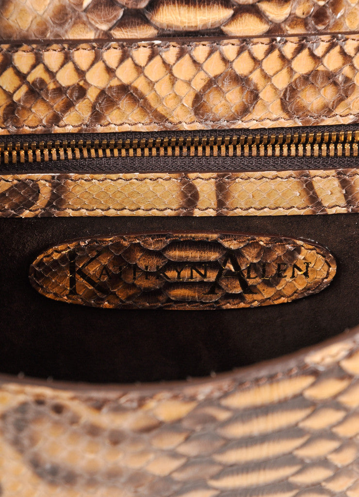 Kathryn Allen New Multi-Brown Giraffe Print Python Leather Large Clutch Bag Brand