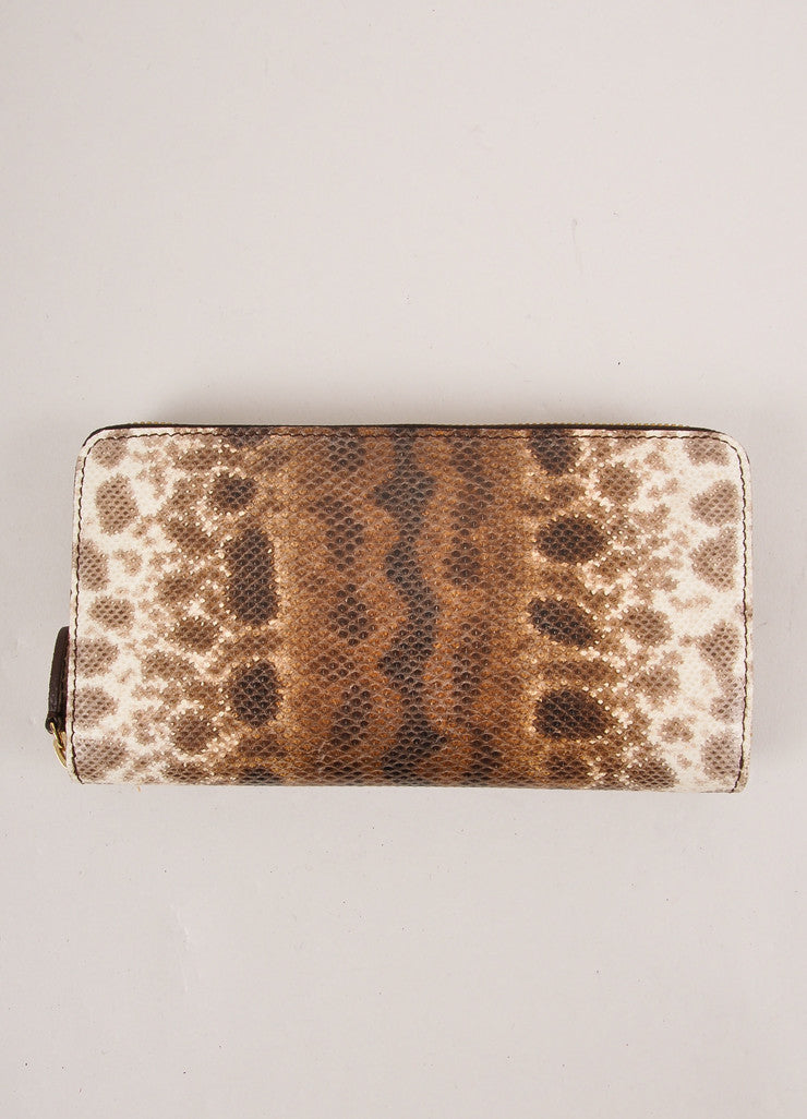 Kathryn Allen New Brown and Cream Snakeskin Leather Zip Continental Wallet Frontview