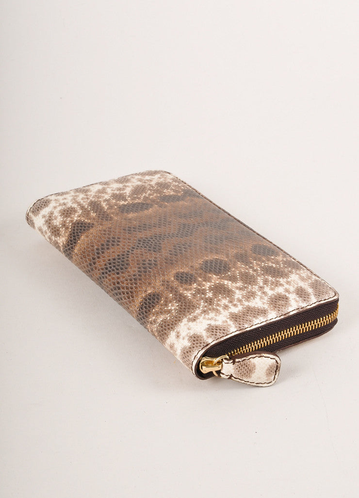 New Brown and Cream Snakeskin Leather Zip Continental Wallet