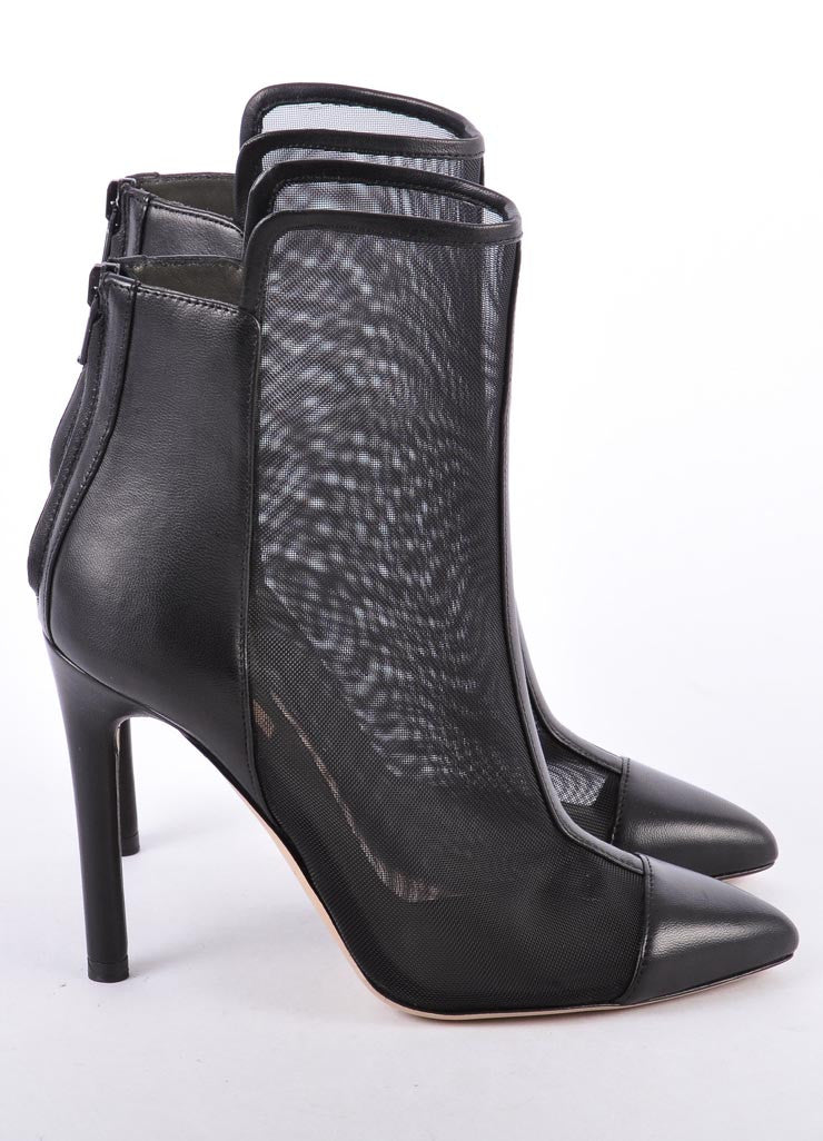 New In Box Black Leather and Mesh Cap Toe Ankle Booties