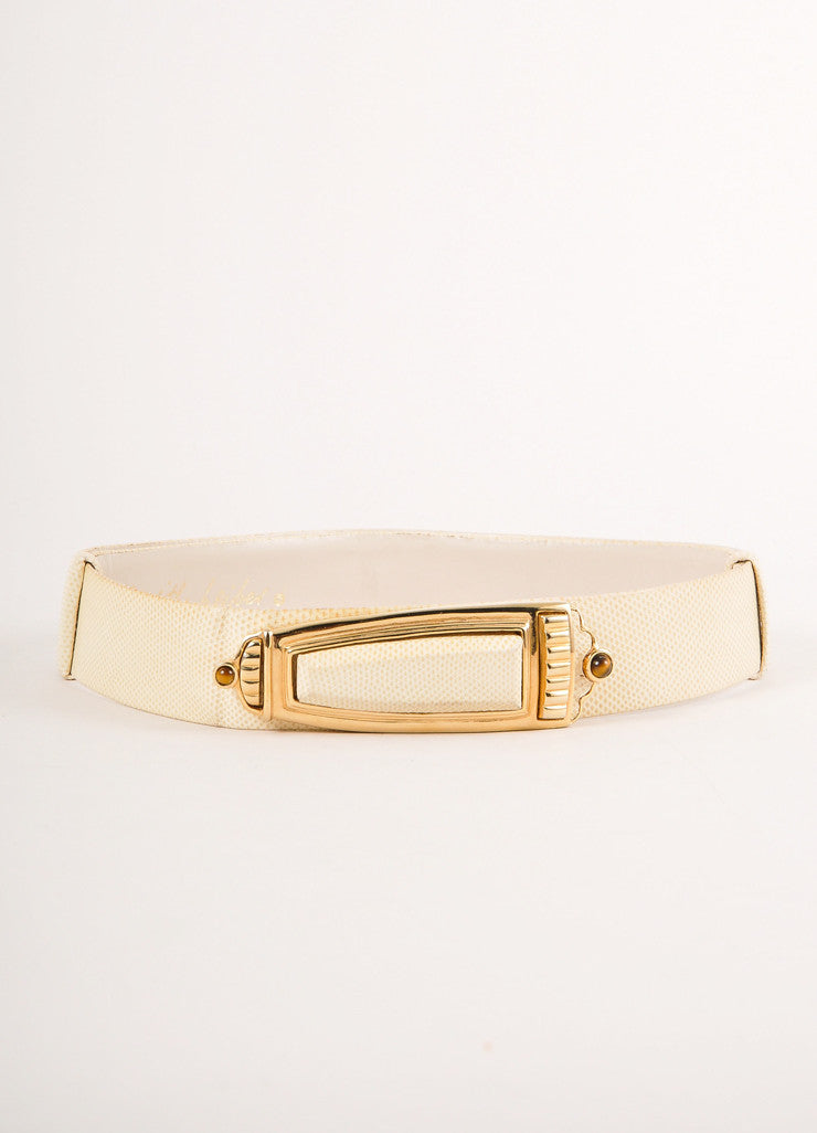 Judith Leiber Cream and Gold Toned Decorative Rectangular Buckle Reptile Leather Belt Frontview