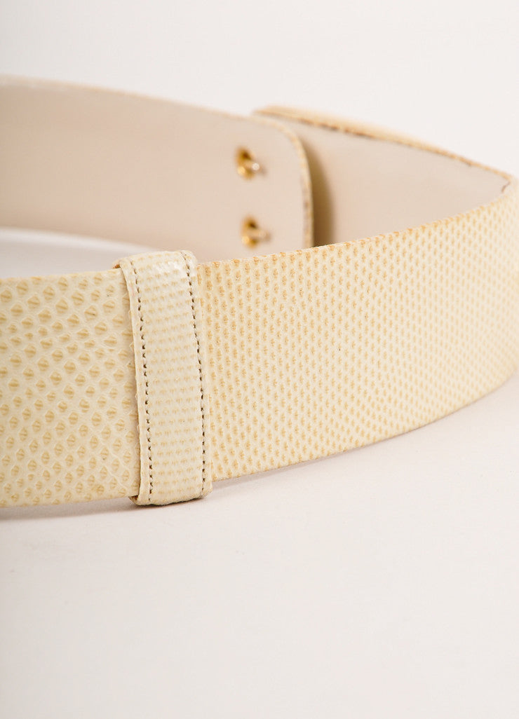 Judith Leiber Cream and Gold Toned Decorative Rectangular Buckle Reptile Leather Belt Detail 2