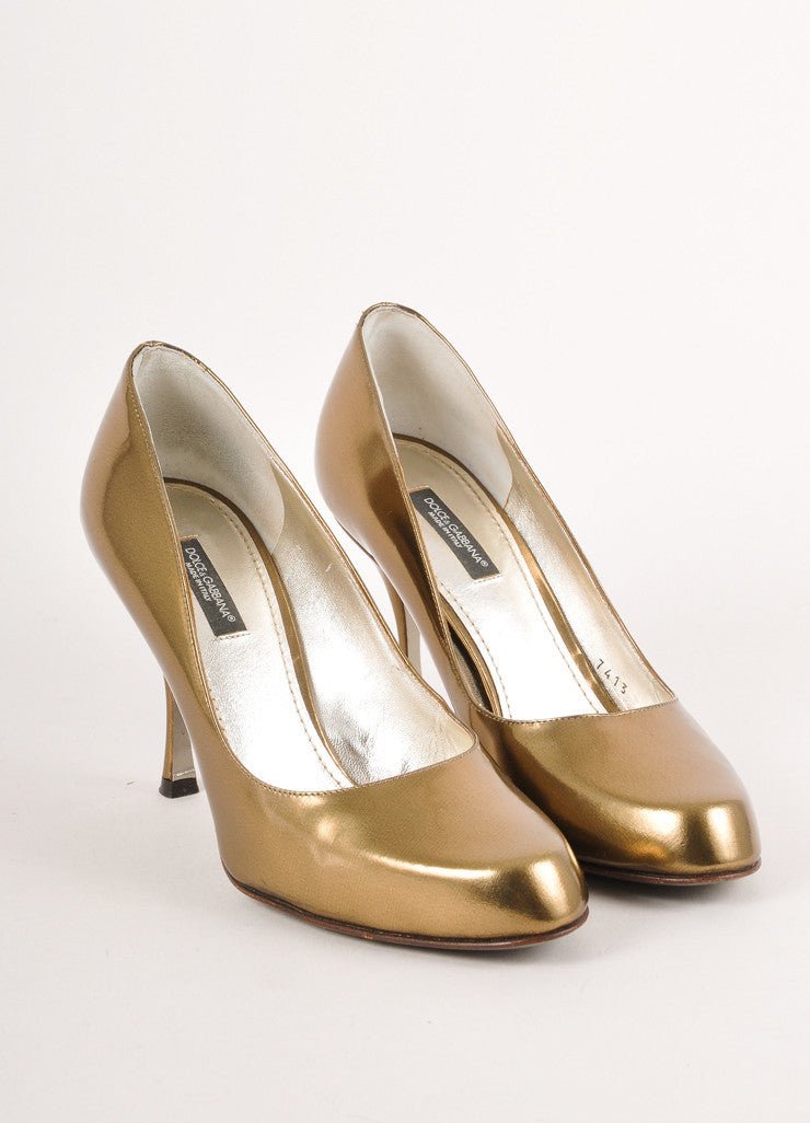Dark Gold and Bronze Metallic Rounded Toe Leather Pumps