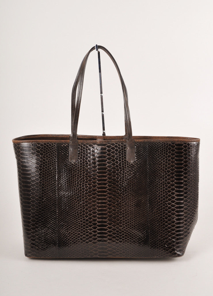 Kathryn Allen Dark Brown Snakeskin Leather Oversized Tote Bag With Pochette Frontview