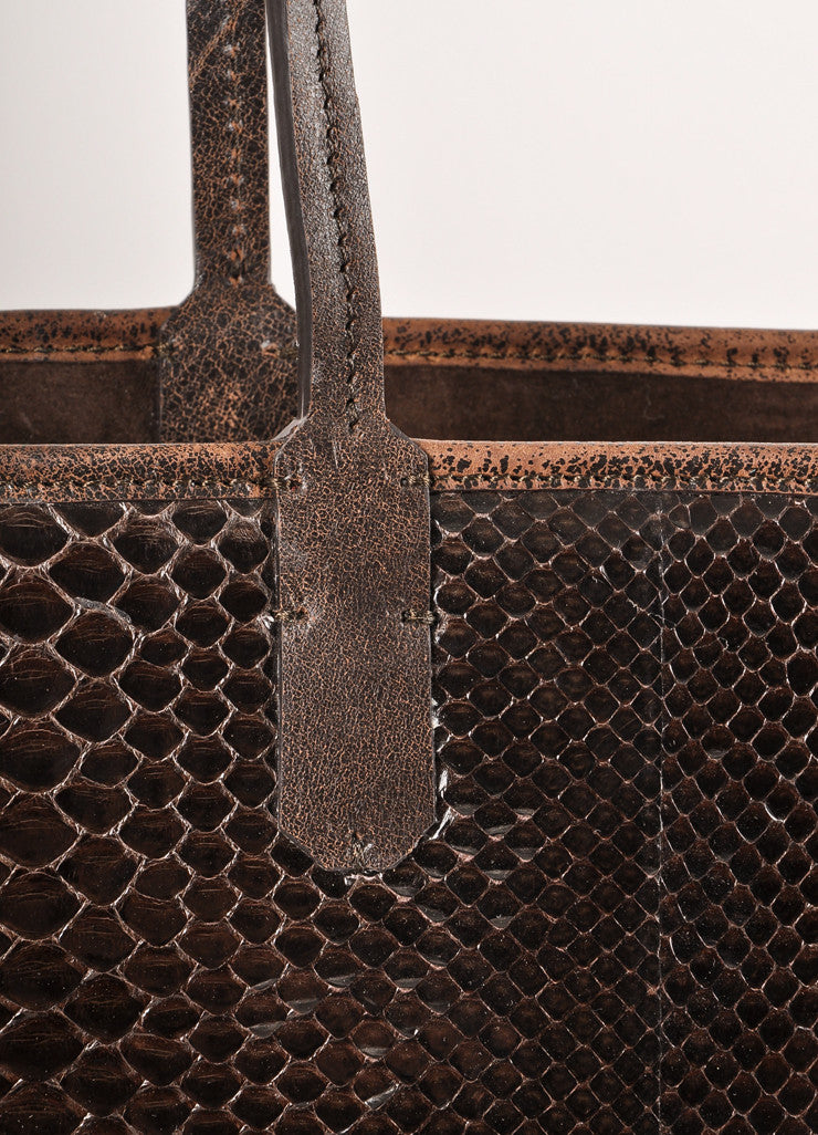 Kathryn Allen Dark Brown Snakeskin Leather Oversized Tote Bag With Pochette Detail 2