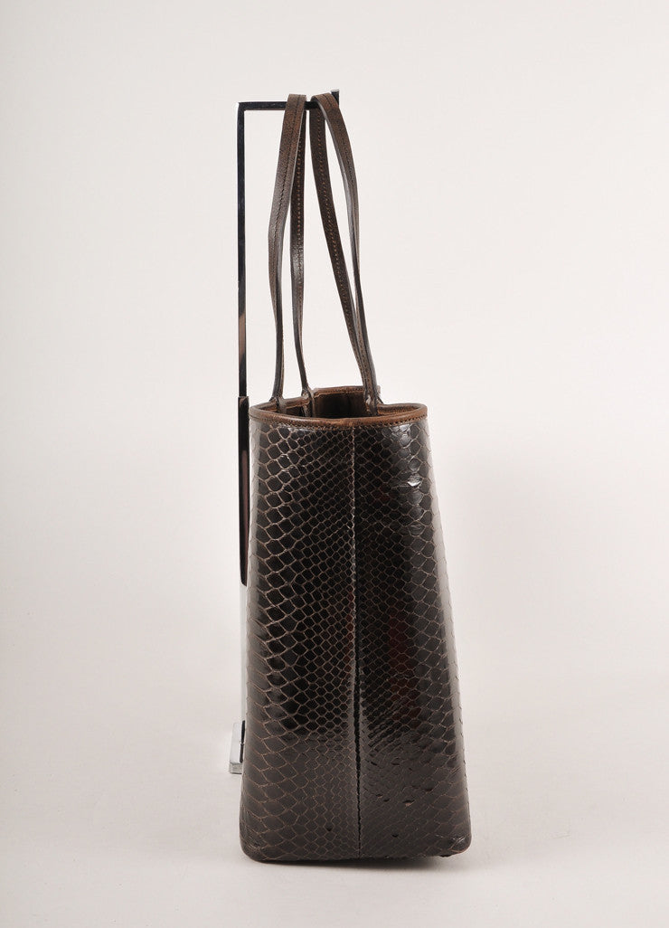 Kathryn Allen Dark Brown Snakeskin Leather Oversized Tote Bag With Pochette Sideview