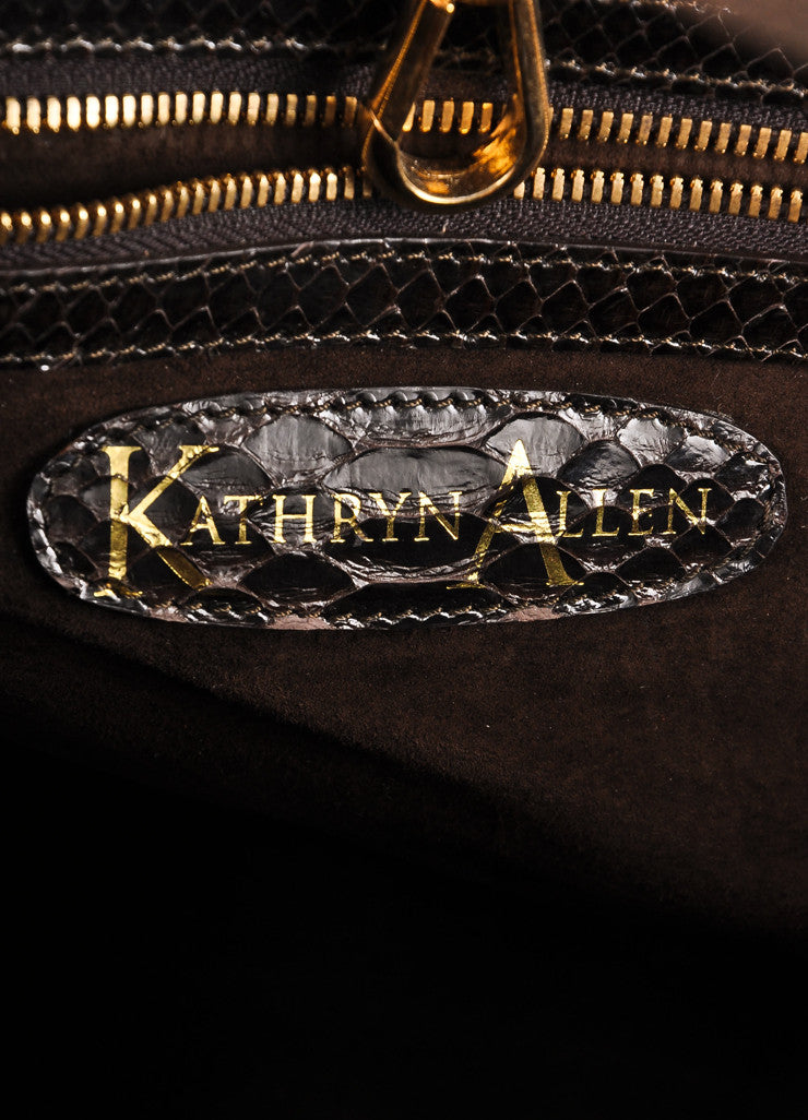 Kathryn Allen Dark Brown Snakeskin Leather Oversized Tote Bag With Pochette Brand