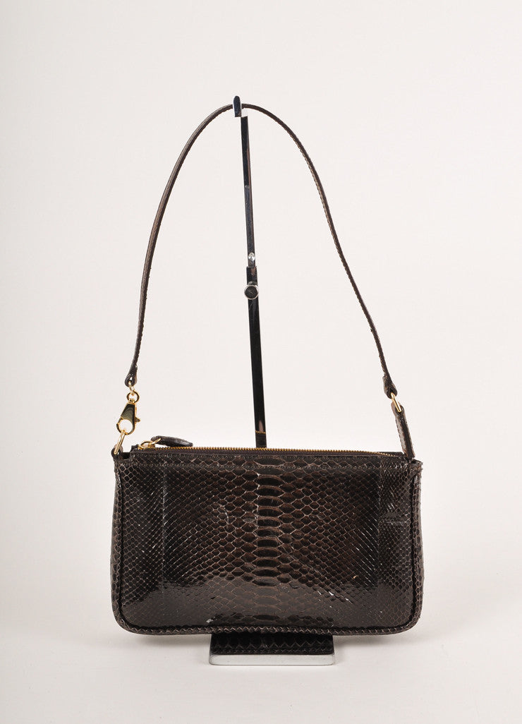 Kathryn Allen Dark Brown Snakeskin Leather Oversized Tote Bag With Pochette Pochette Frontview