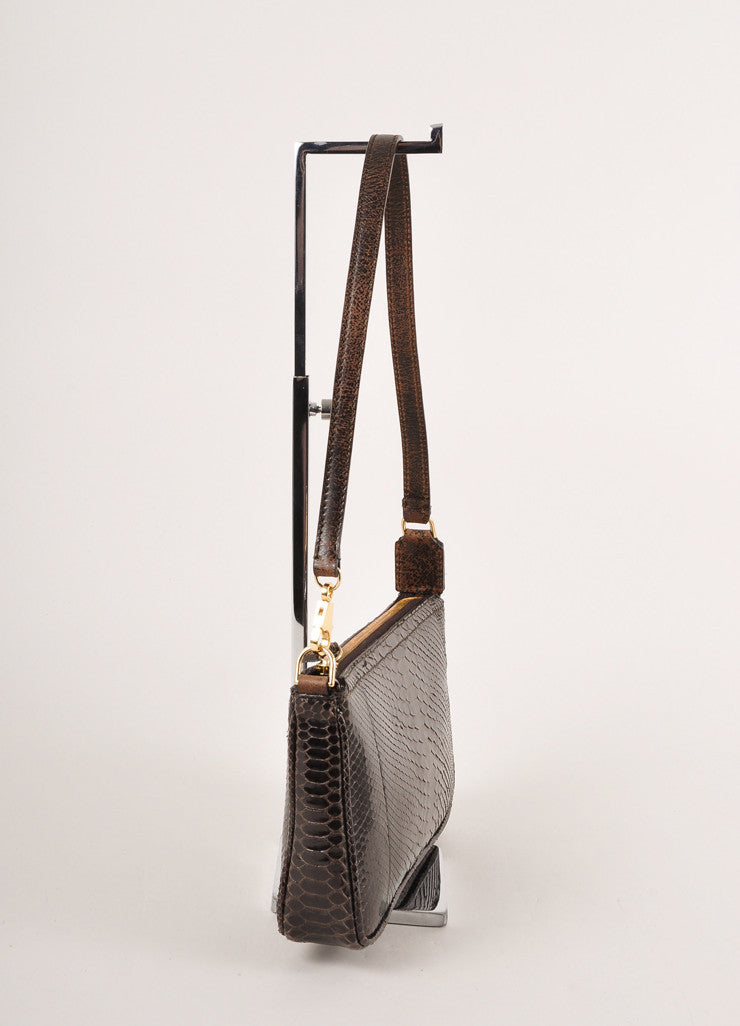Kathryn Allen Dark Brown Snakeskin Leather Oversized Tote Bag With Pochette Pochette Sideview