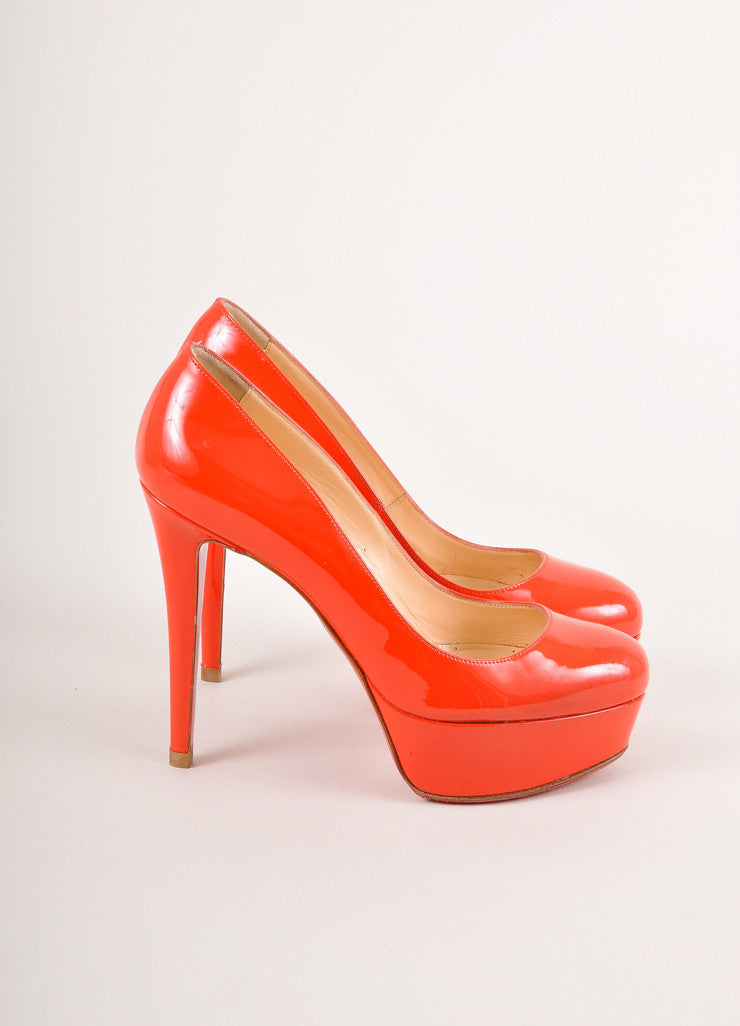 "Christian Louboutin Red Patent Leather Platform ""Bianca 120"" Pumps Sideview"